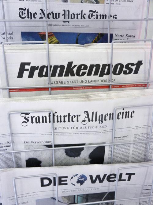 Zeitungsangebot mit New York Times, Frankenpost, Die Welt, Frankfurter Allgemeine und mehr